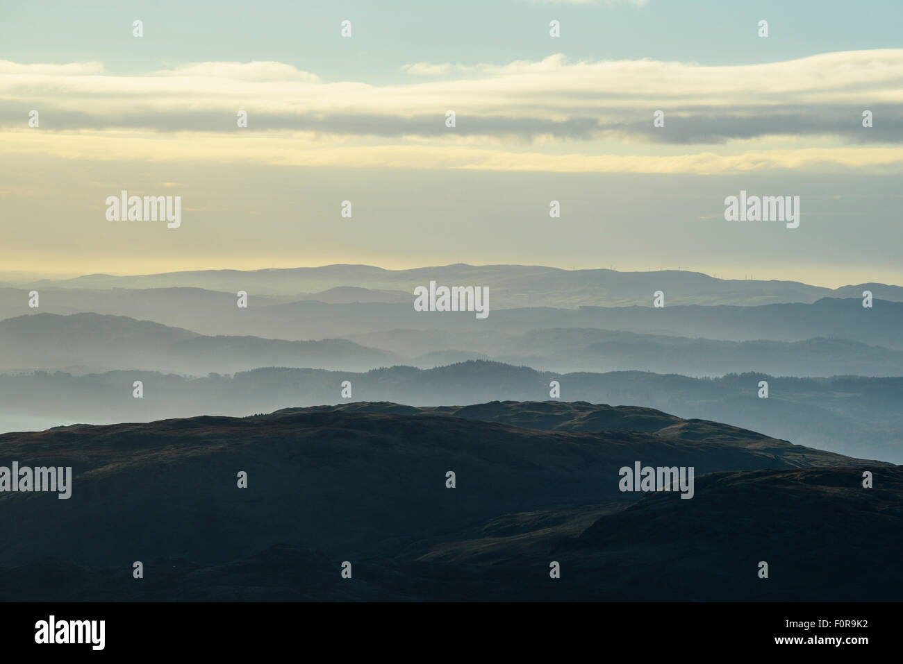 Temperature inversion over southern Lake District from slopes of Kentmere Pike. - Stock Image