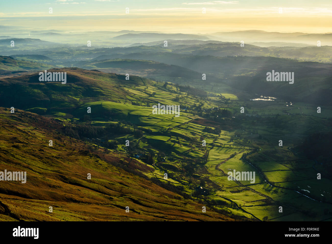 Temperature inversion over Kentmere valley Lake District from slopes of Kentmere Pike - Stock Image
