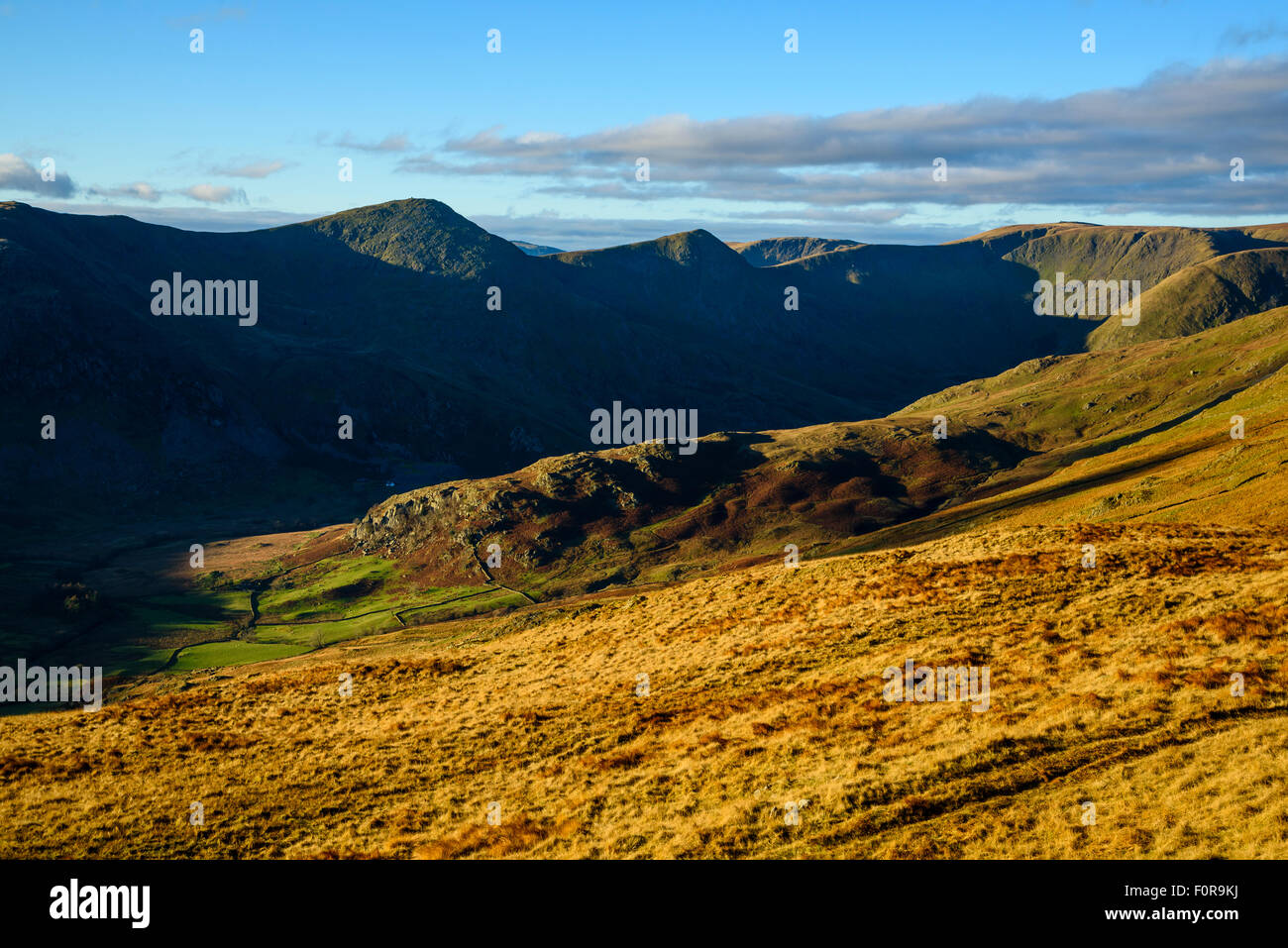 Upper reaches of Kentmere valley Lake District with the peaks of Ill Bell Froswick and Thornthwaite Crag - Stock Image