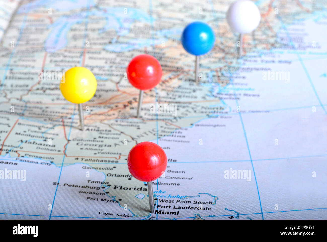 Image of: Map Of Eastern Us With Pin Tags On It Placed On Major Cities Stock Photo Alamy
