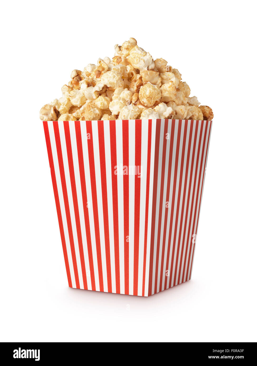 Movie Popcorn isolated on white with clipping path - Stock Image