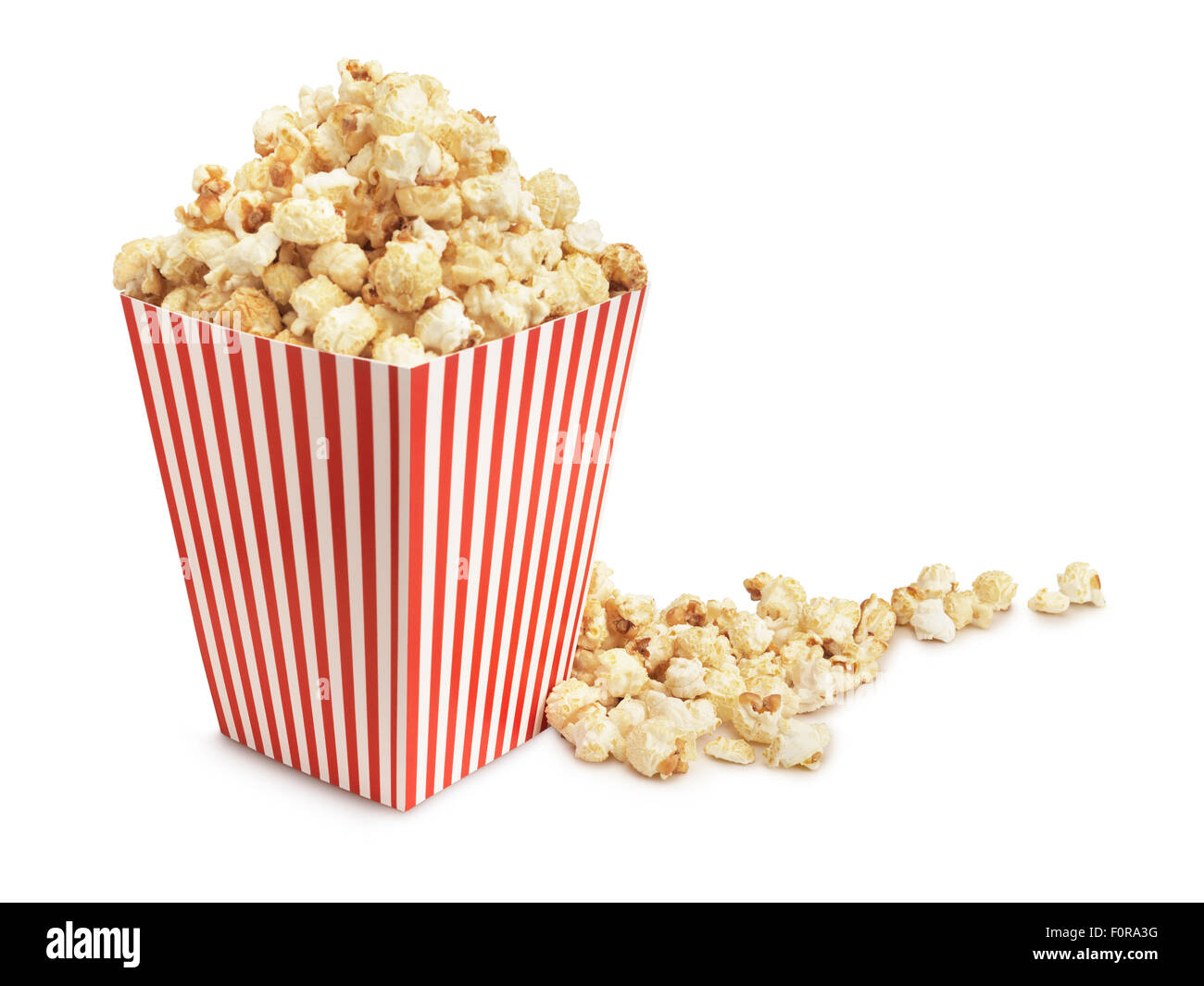 Cinema popcorn on a white background with clipping path - Stock Image