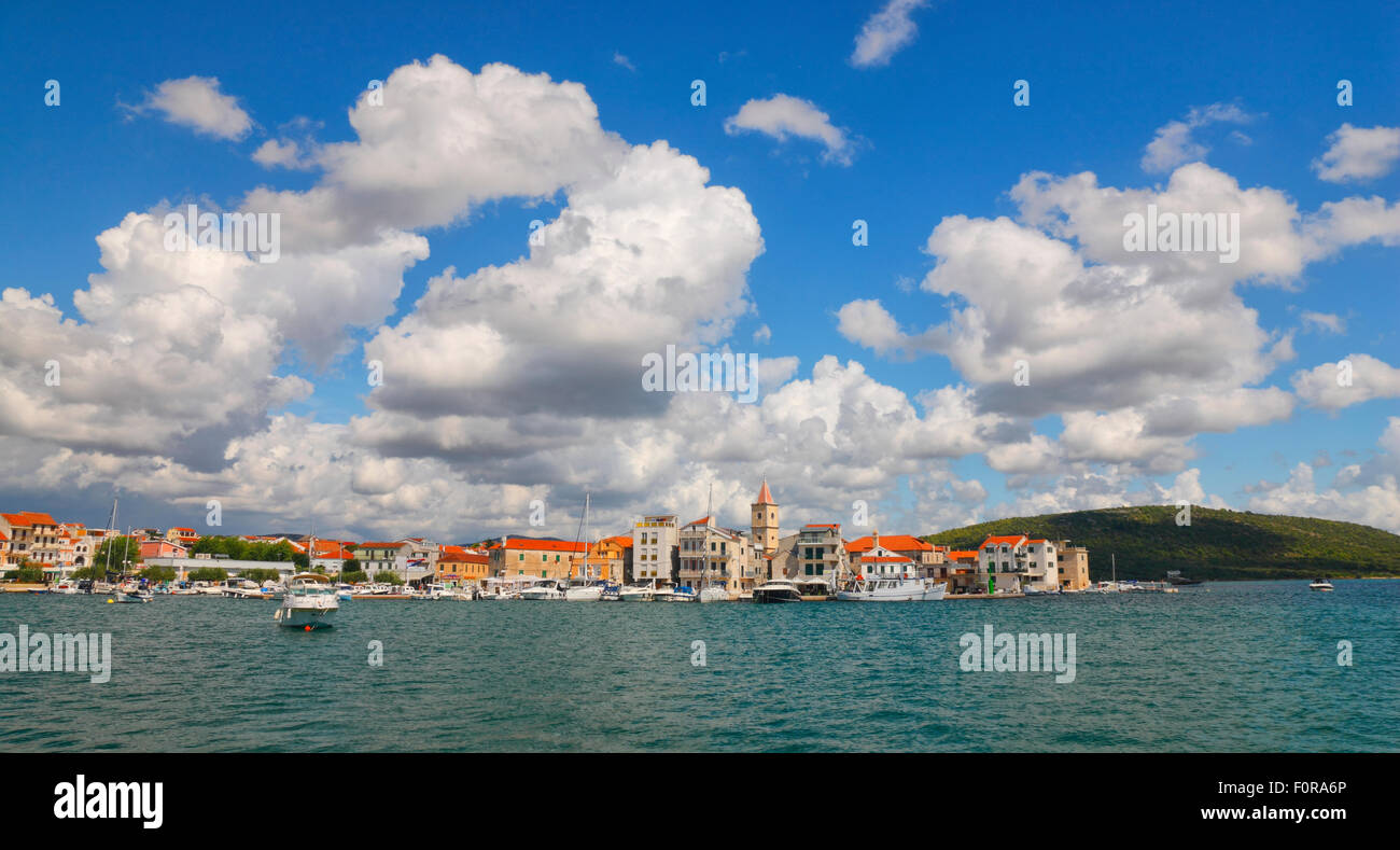 Pirovac town with beautiful clouds on the sky. - Stock Image