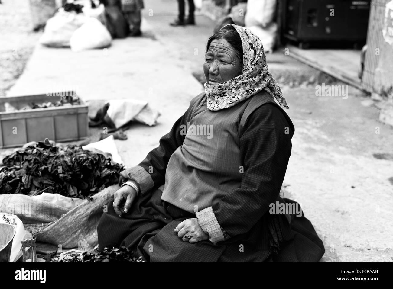 India Jammu Kashmir Ladakh A woman at the market - Stock Image