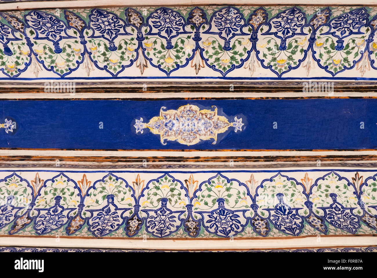 Jodhpur, India. Mehrangarh sandstone hill fort of the Marwar rulers. Blue painted detail. - Stock Image