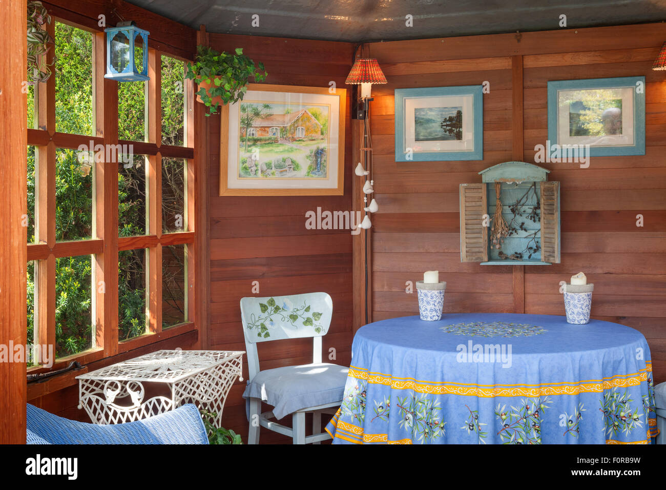 Small summerhouse on the terrace near the house.The Court, North Ferriby, Yorkshire, UK. Spring, May 2015. - Stock Image
