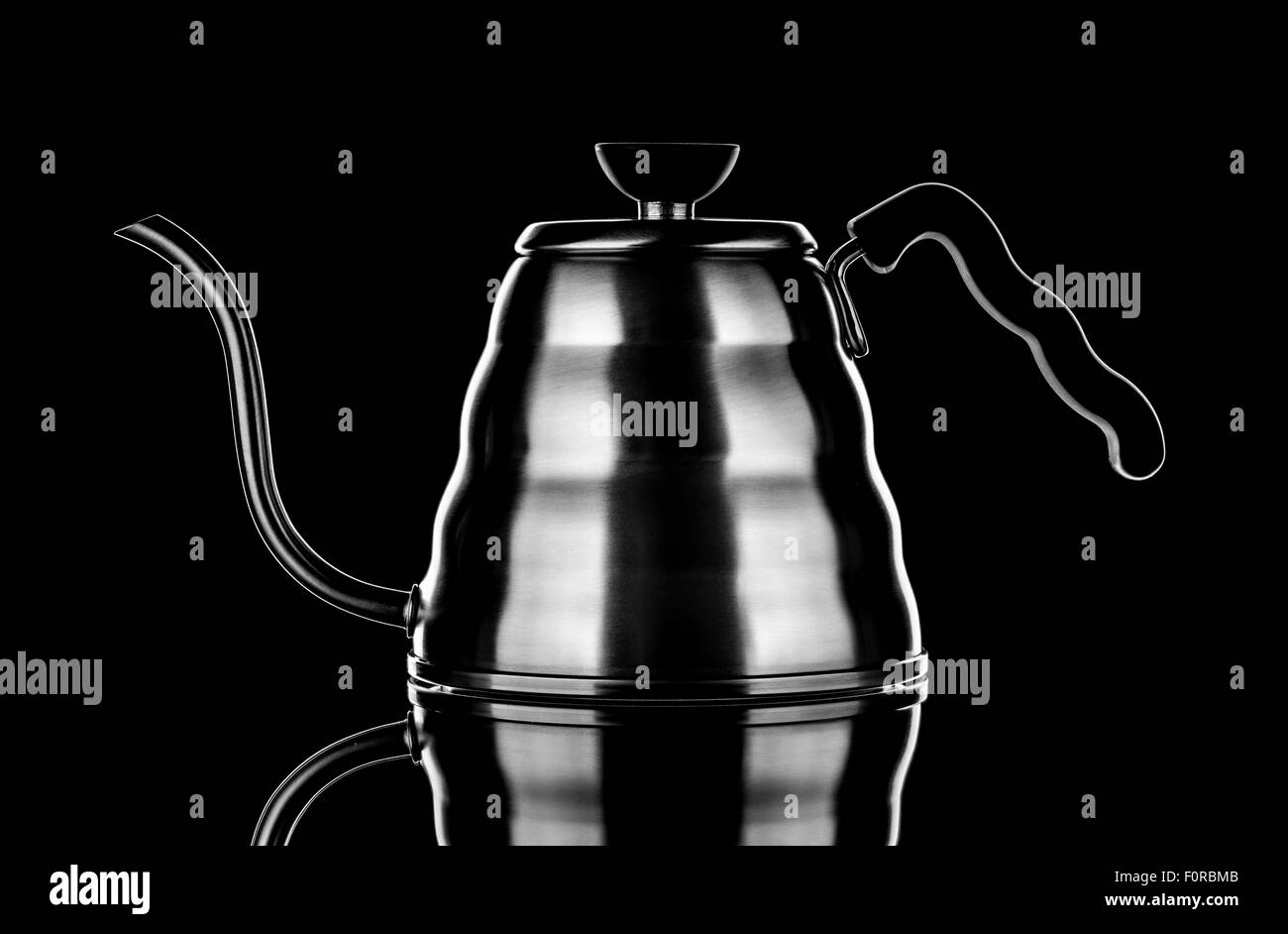 Hario aluminium drip kettle for coffee brewing - Stock Image