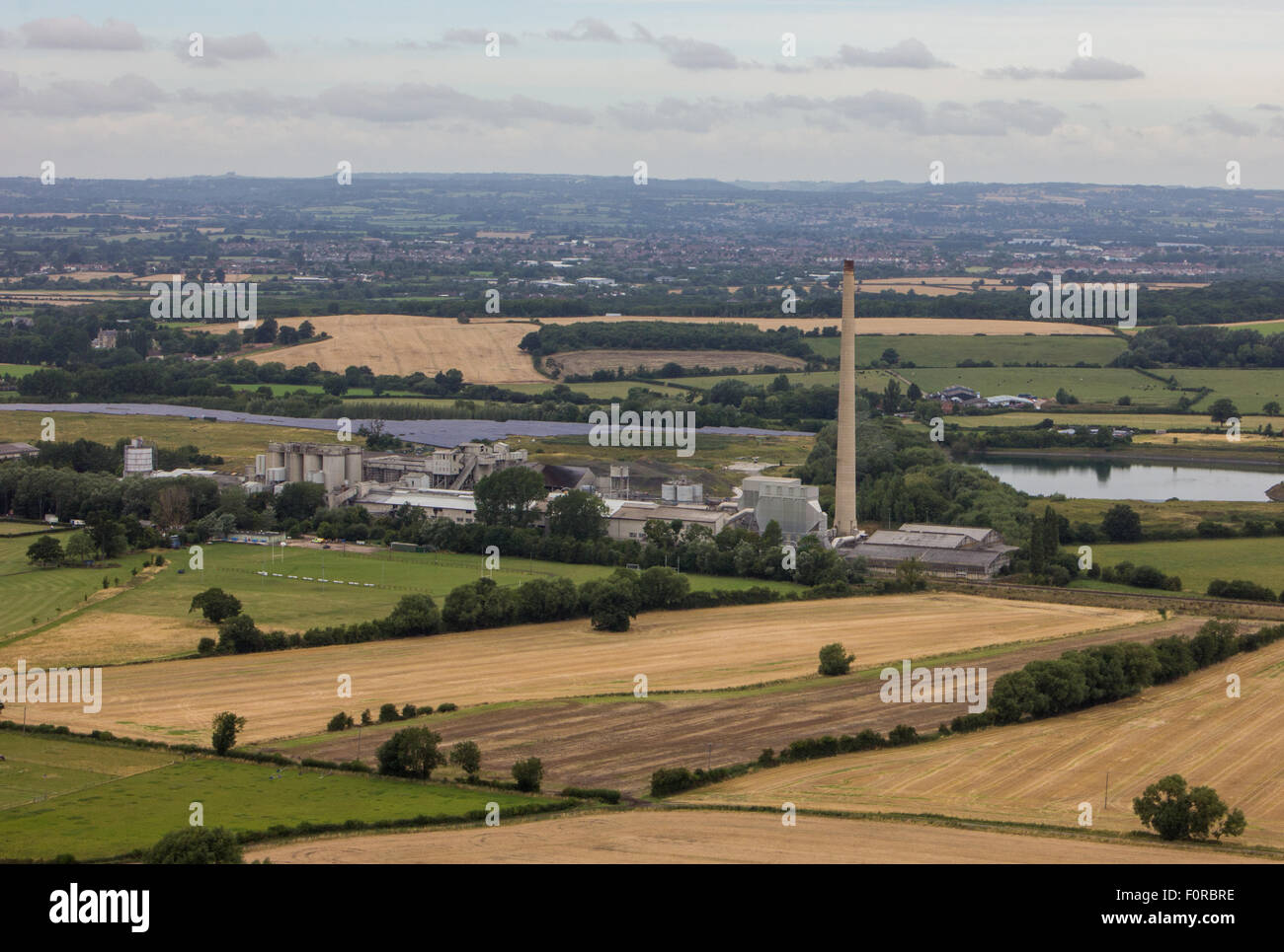 Looking across the Wiltshire town of Westbury from up the top of the hill near the White Horse. Stock Photo
