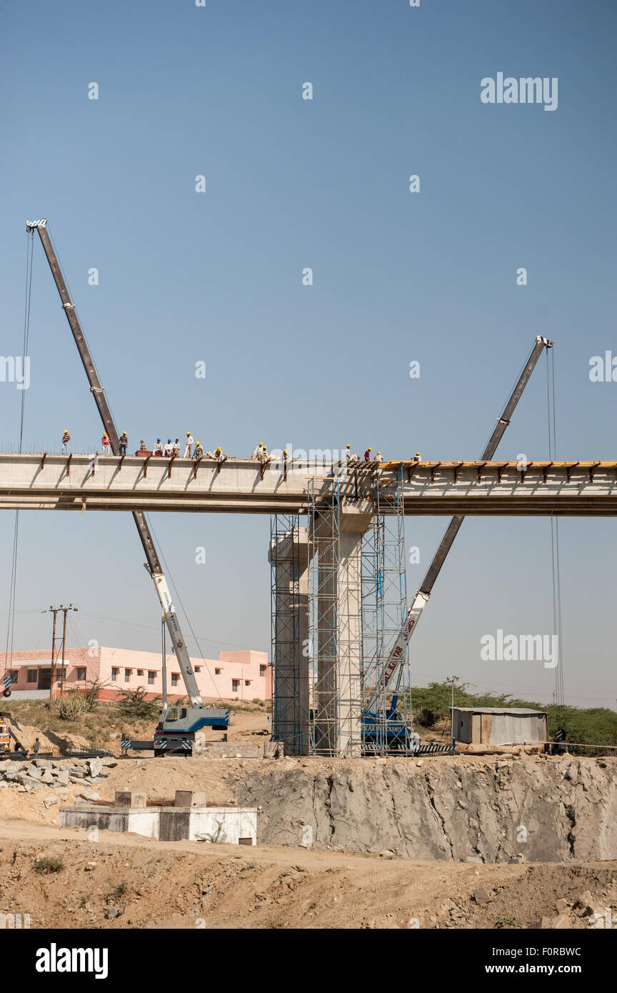 Rajasthan, India. Road from Jodhpur to Jaipur. New flyover being built. Bridge, roadworks. - Stock Image