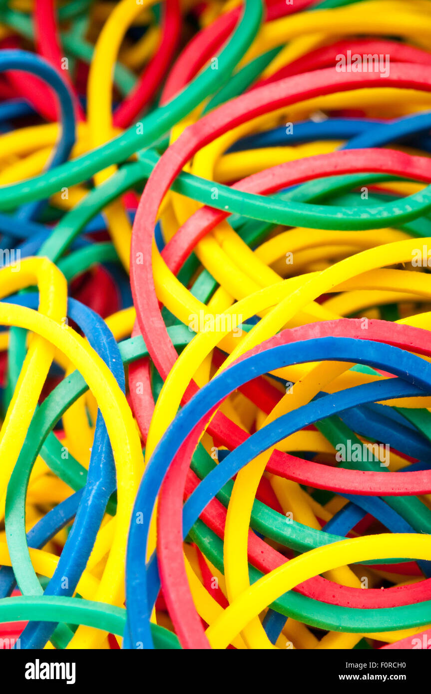 colorful rubber bands - Stock Image