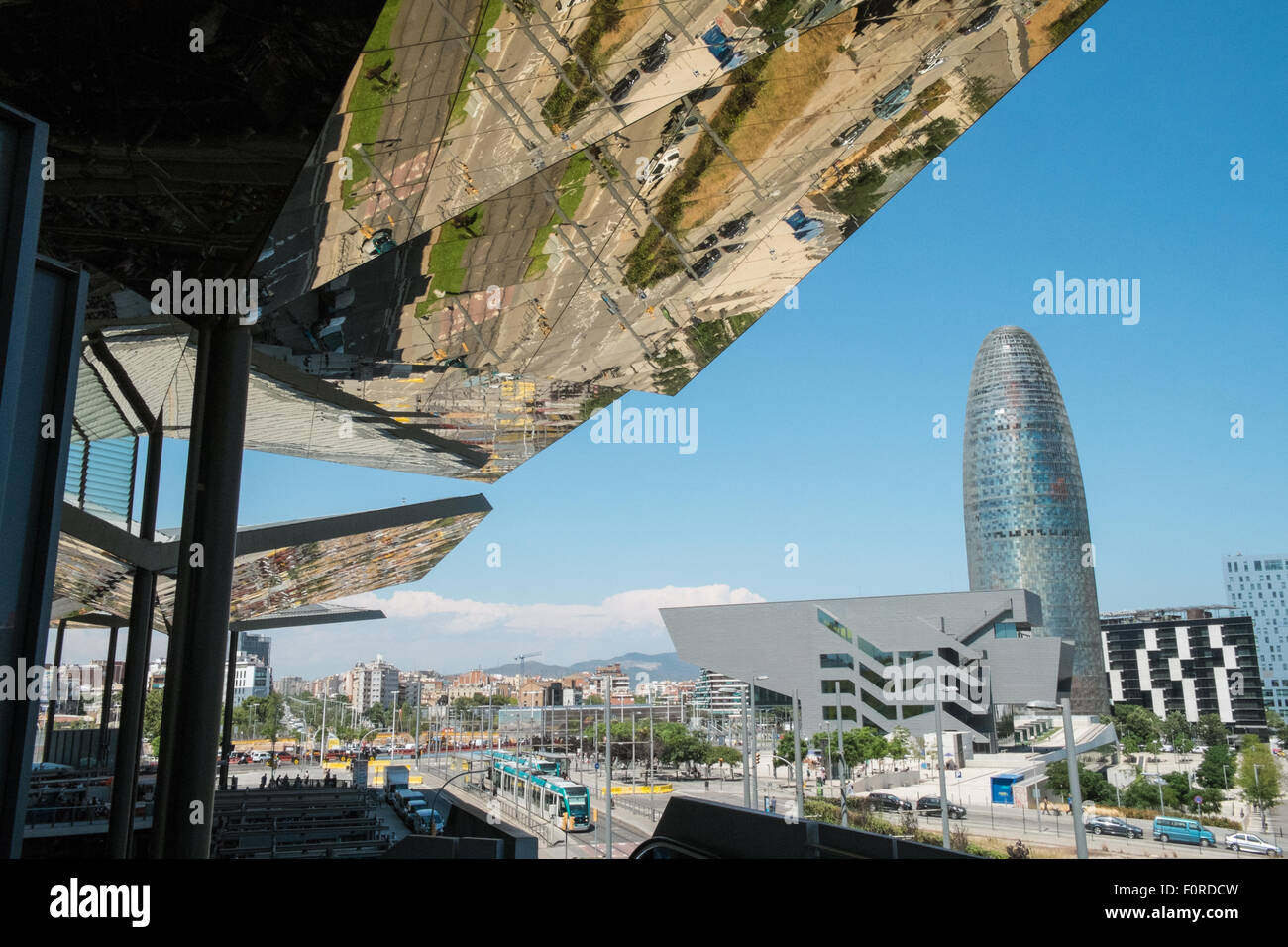 Design Els Barcelona   Agbar Design Tower Mirrored Museum Ceiling Els Stock Photos Agbar