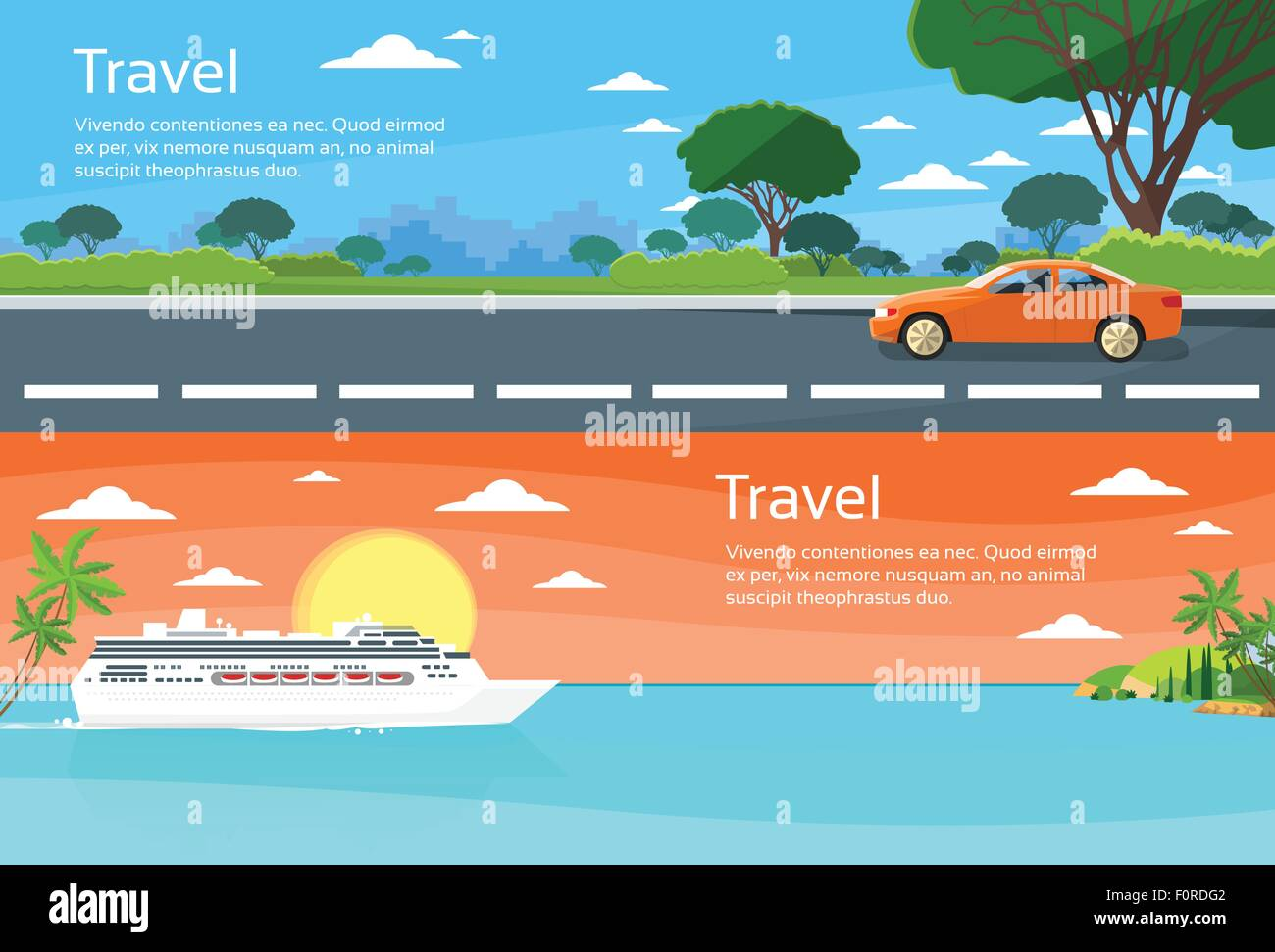 Travel Web Banner Car Drive Road Cruise Ship Liner Tropical Island Stock Vector Image Art Alamy