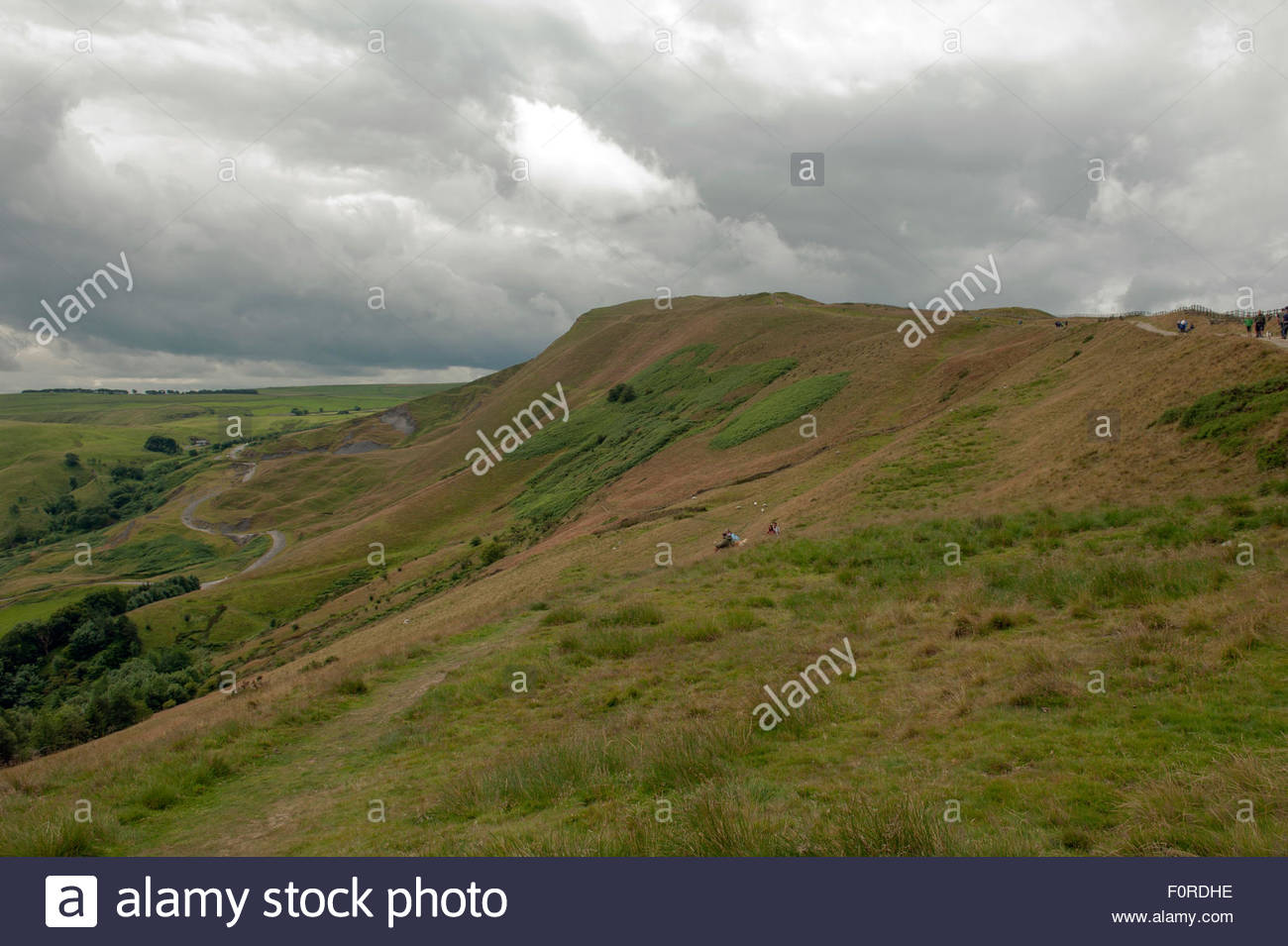 Edale, Derbyshire UK. Peak District National Park. View looking westwards along the south facing slopes towards - Stock Image