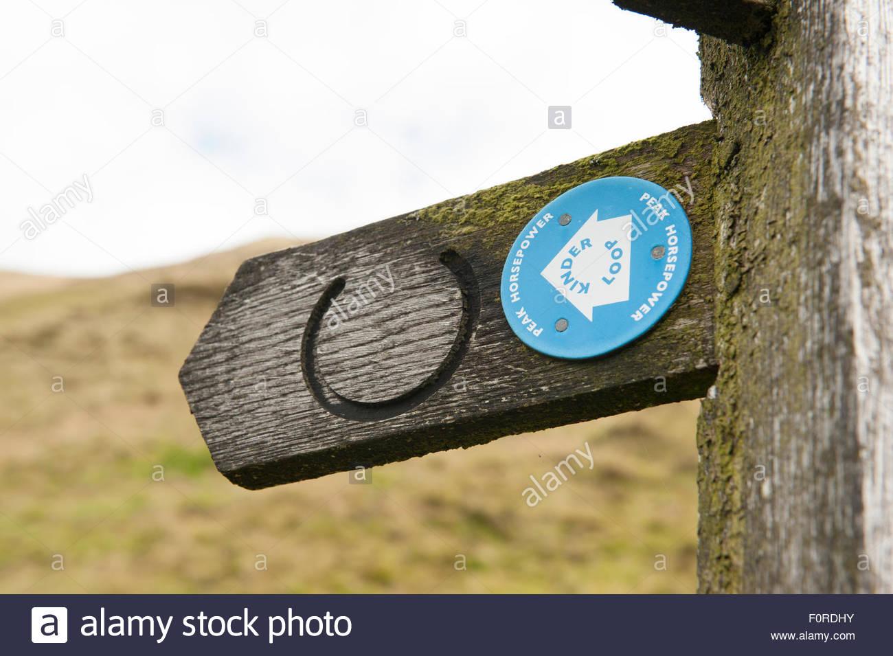 Edale, Derbyshire UK. Peak District National Park.  Sign for the Peak Horsepower Kinder Loop bridleway. - Stock Image