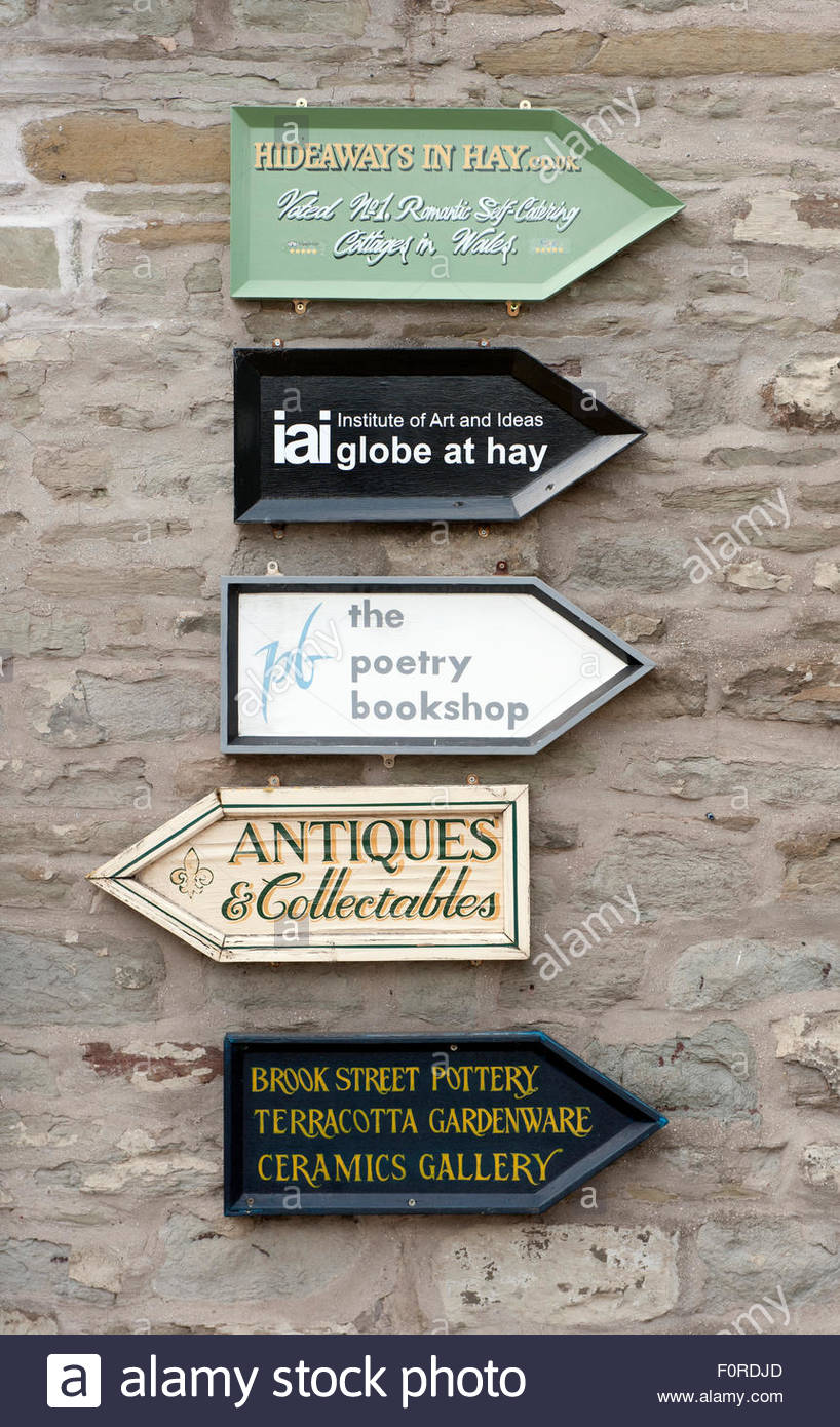 Hay on Wye UK. A small town on the Wales/England border famous for its literary associations, with book shops seemingly - Stock Image