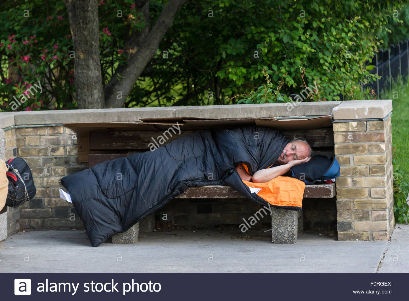 Homelessness in Toronto and in Canada: Homelessness in Canada has grown in size and complexity.  In Toronto there - Stock Image