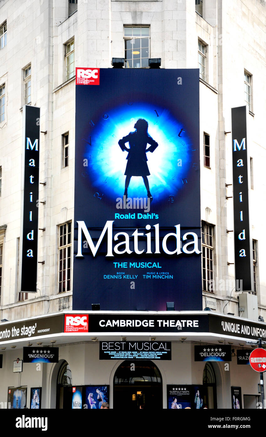 London, England, UK. Matilda, The Musical at the Cambridge Theatre, Seven Dials, Earlham Street. By Tim Minchin - Stock Image