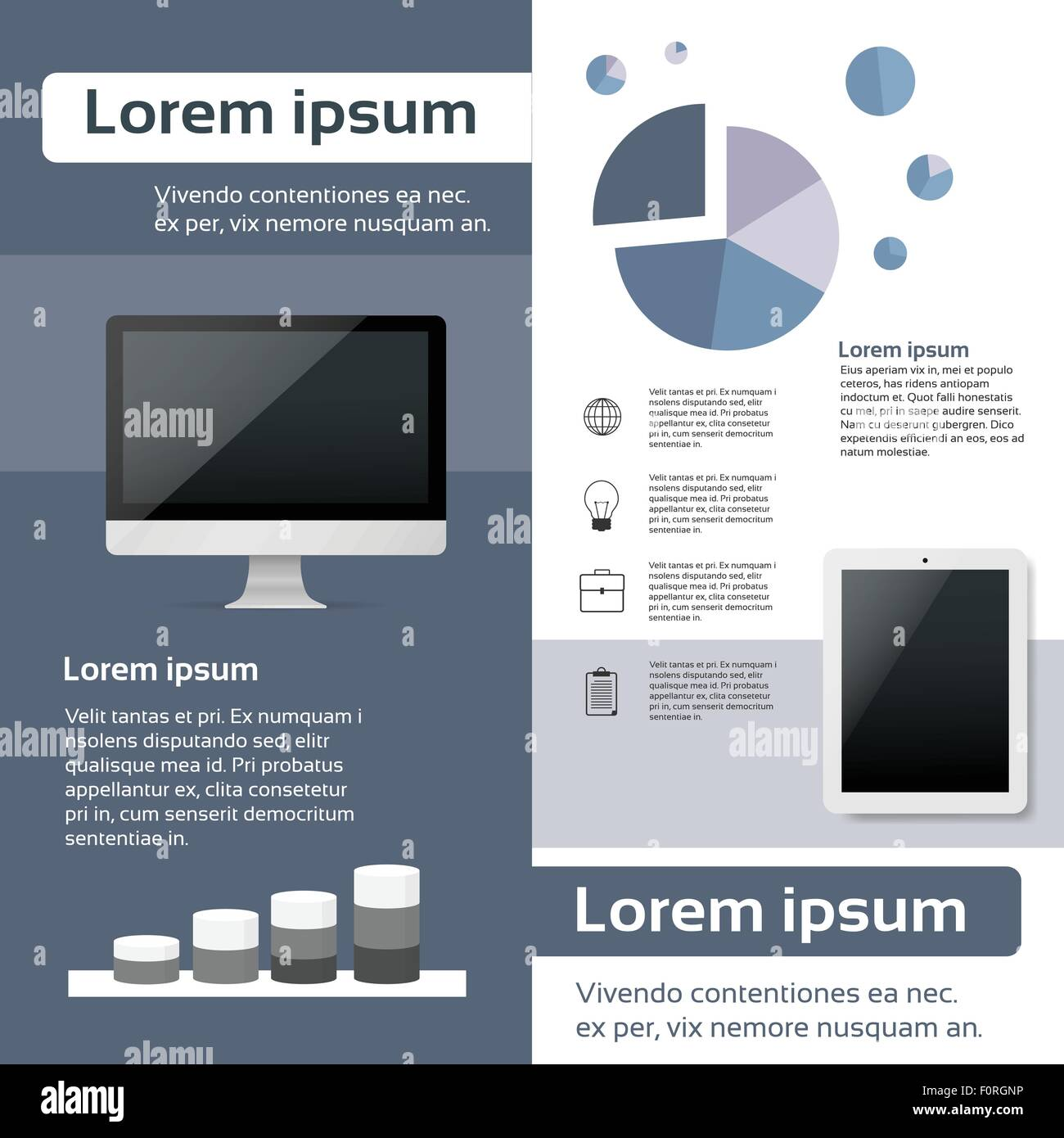 desktop compter tablet infographics web page layout template stock