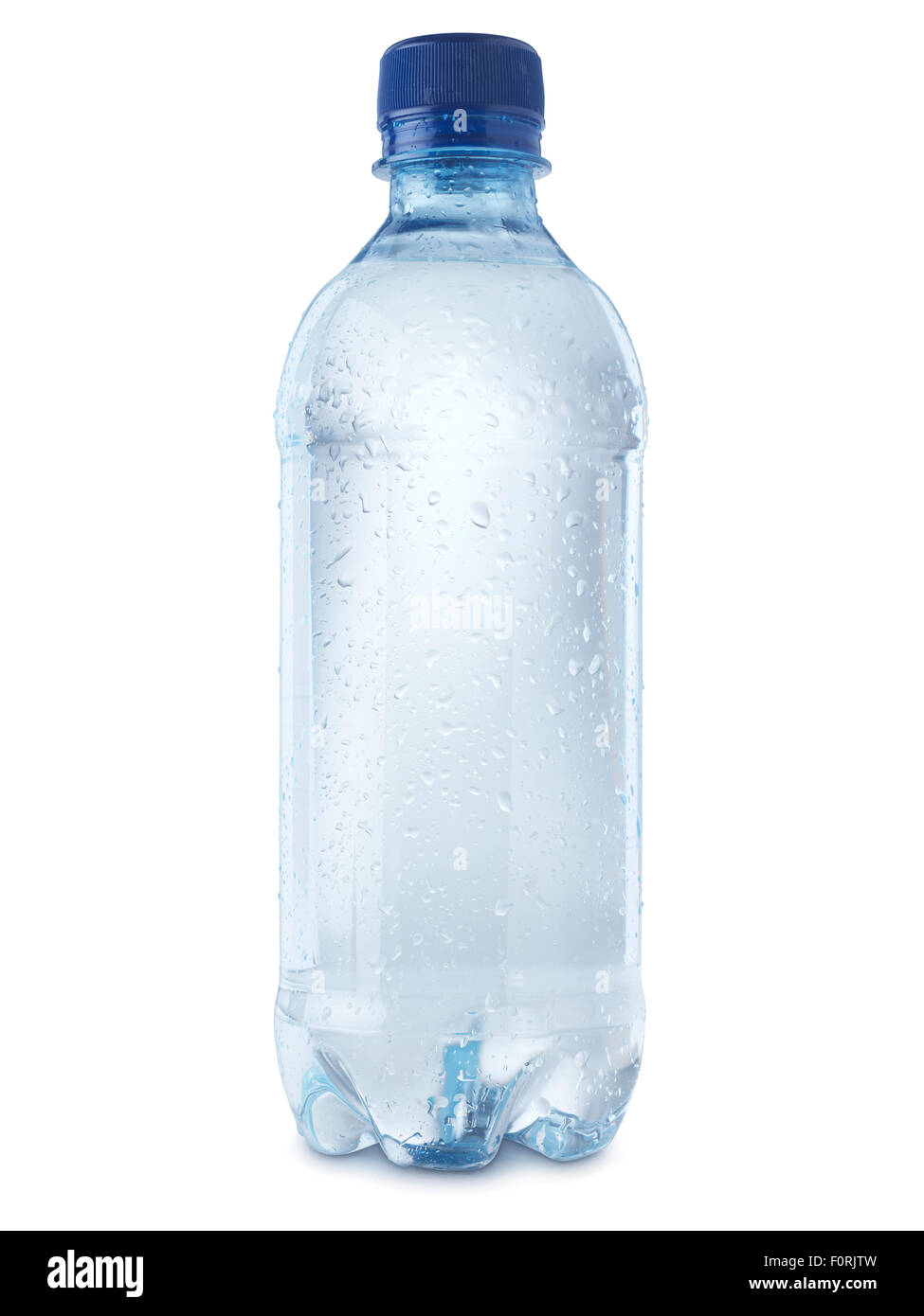 shot of mineral water bottle isolated on a white background with a clipping path, covered in condensation bubbles - Stock Image