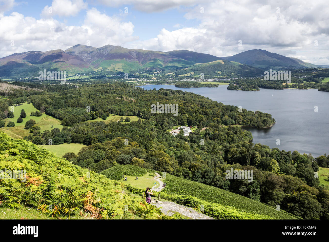 Skiddaw and Blencathra from the Lowers Slopes of Catbells, Lake District, Cumbria UK - Stock Image