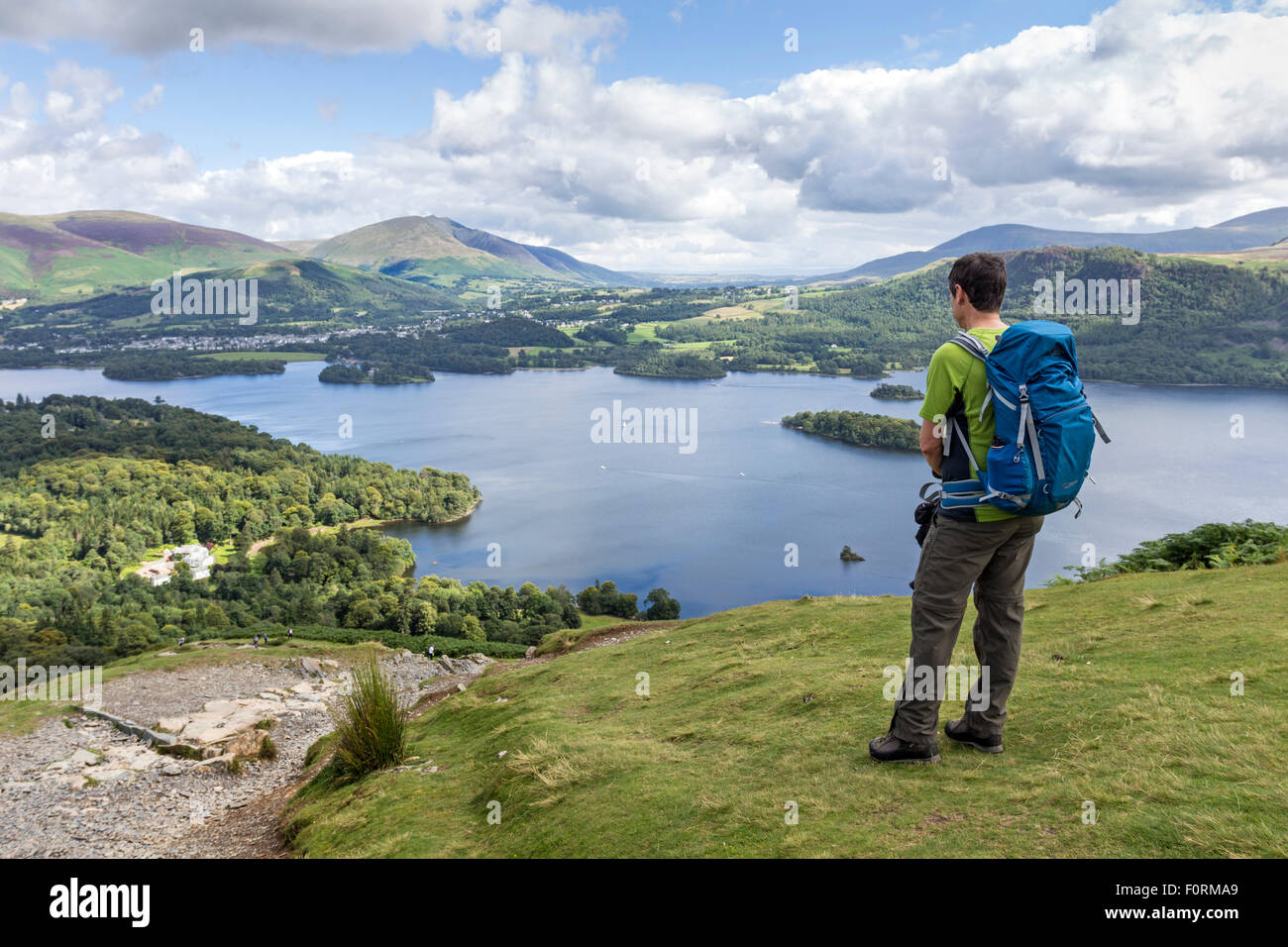 Walker Enjoying the View Across Derwent Water Towards Blencathra from the Lowers Slopes of Catbells, Lake District - Stock Image