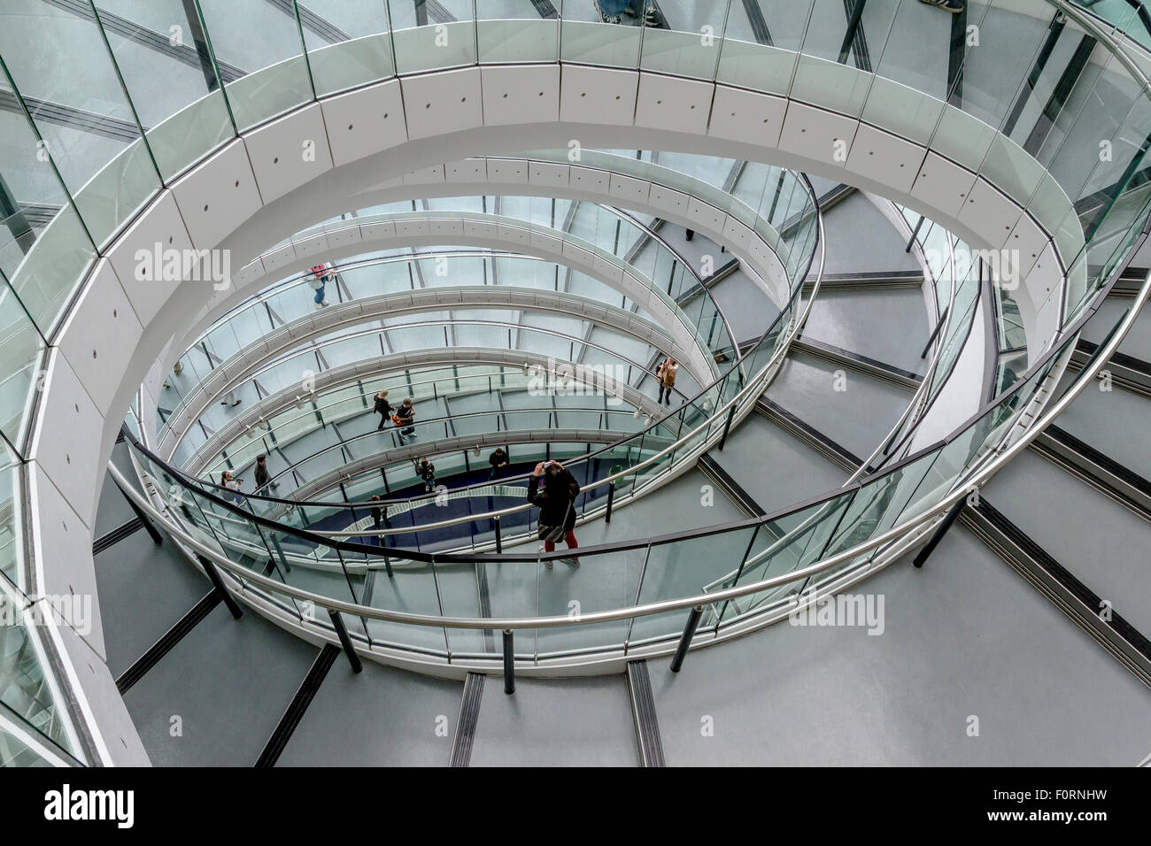 The interior staircase at City Hall which is the headquarters of the Greater London Authority (GLA) , London - Stock Image