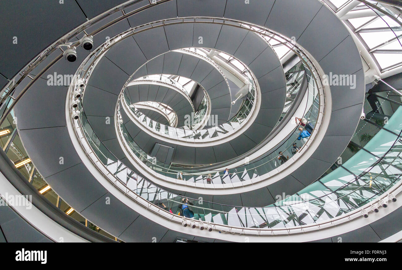 The interior staircase at City Hall which is the headquarters of the Greater London Authority (GLA) , London Stock Photo