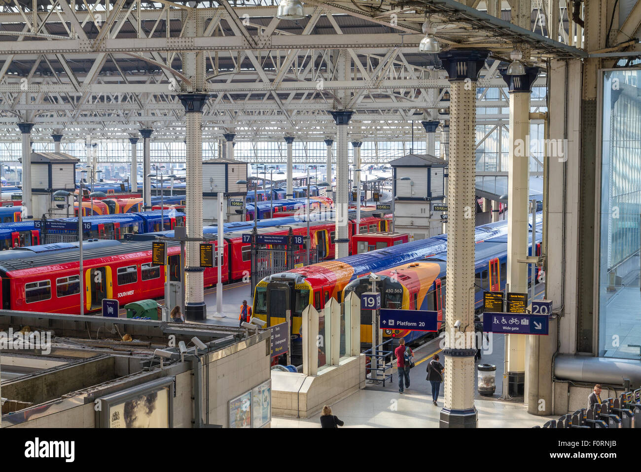 Trains waiting At Platforms at Waterloo station ,London's Busiest station - Stock Image
