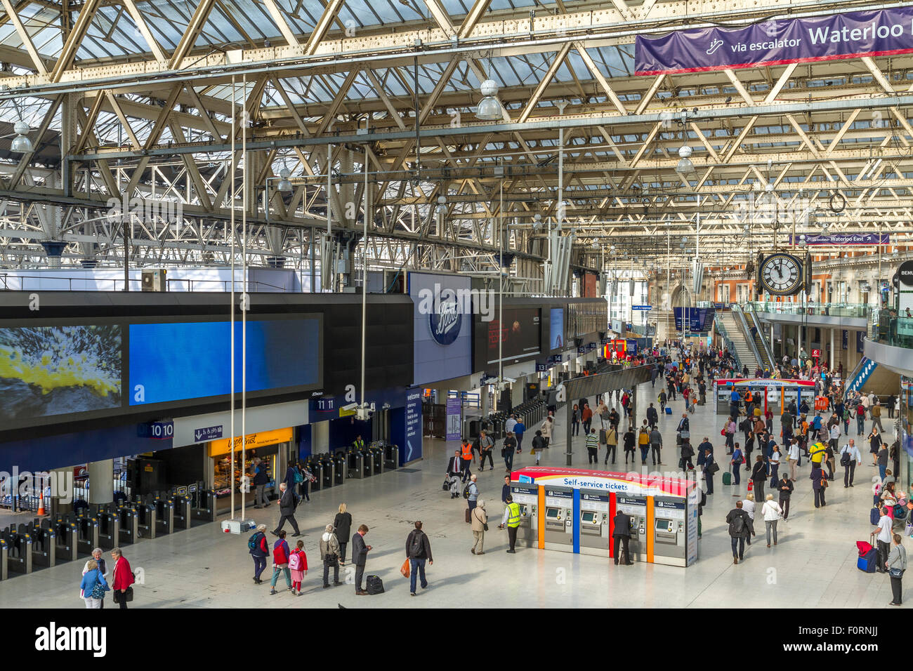 The Concourse At Waterloo Station ,London's Busiest station .London ,UK - Stock Image