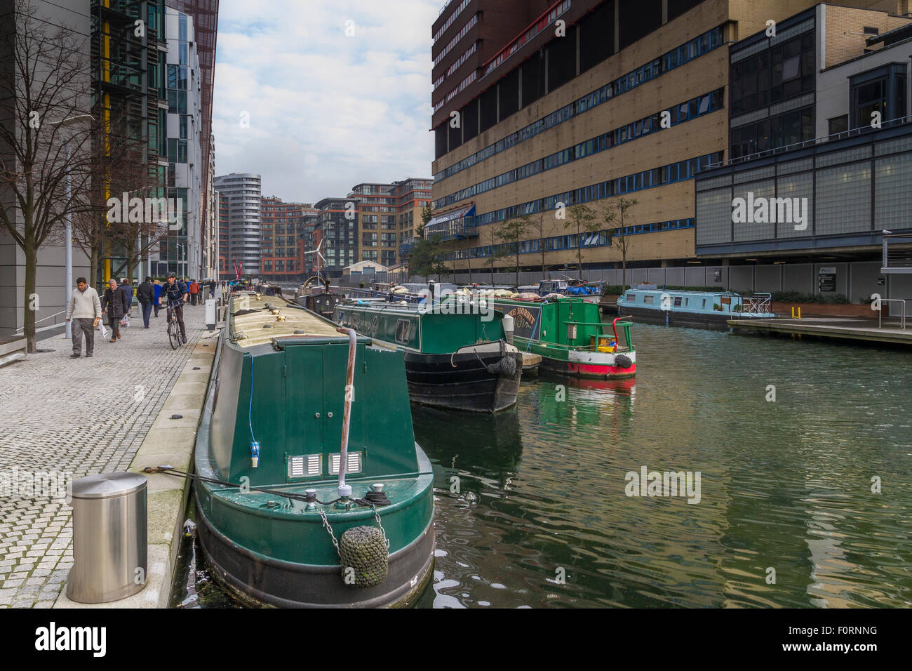 Narrow Boats on Regents Canal ,London - Stock Image