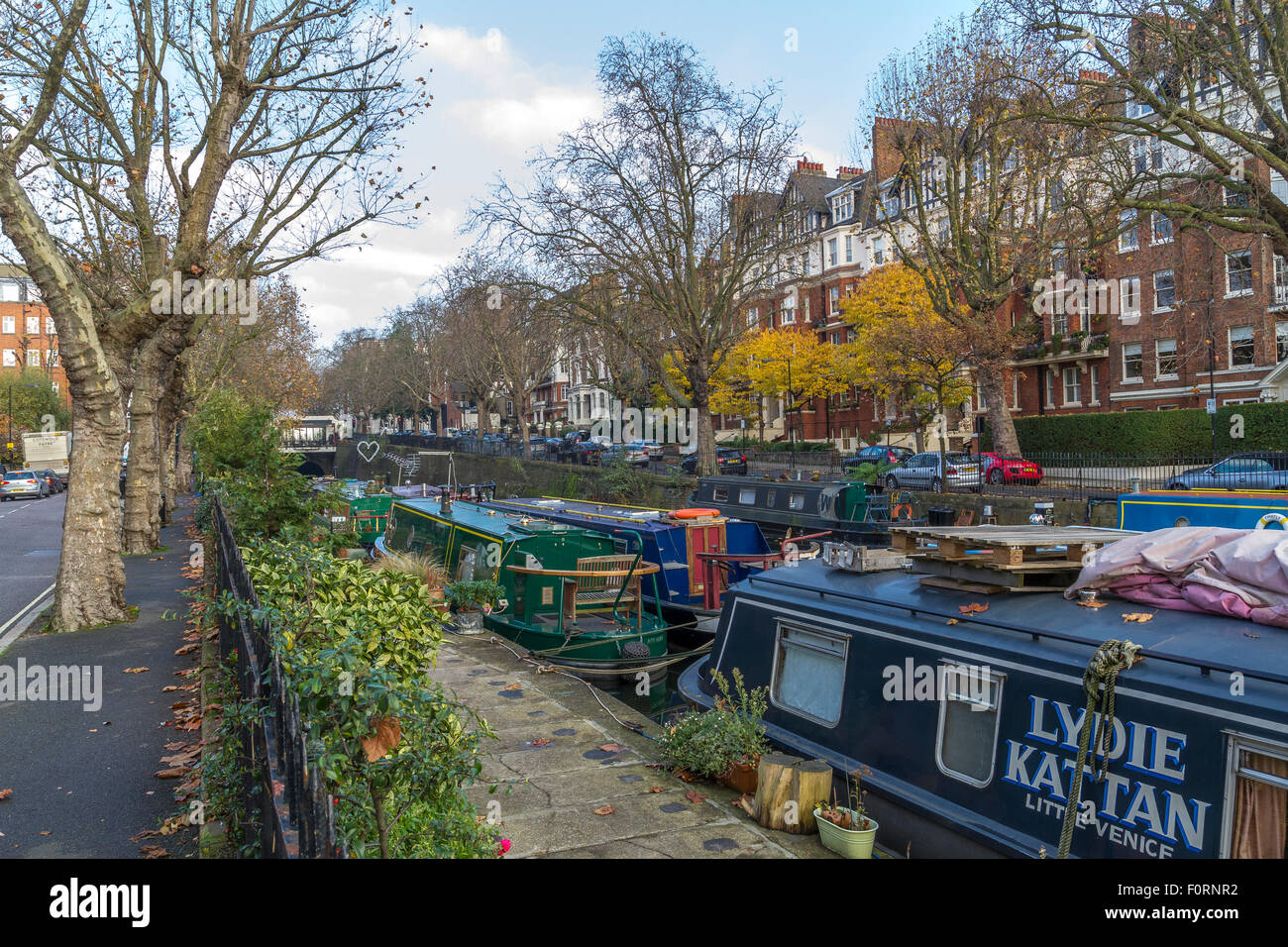 Narrow Boats moored up on The Regents Canal ,London - Stock Image