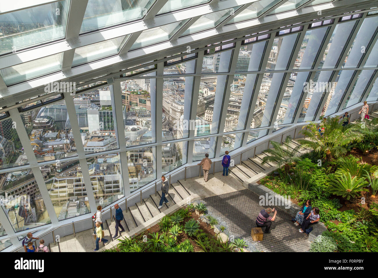 The Sky Garden ,at the Top of 20 Fenchurch St, or The Walkie Talkie Building. One of London's best views with - Stock Image