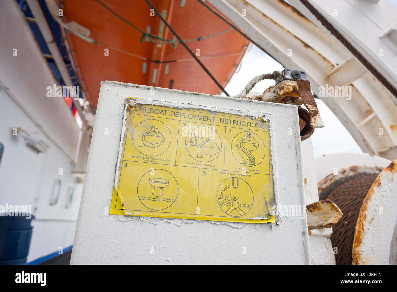 Lifeboat deployment instructions on a ferry - Stock Image