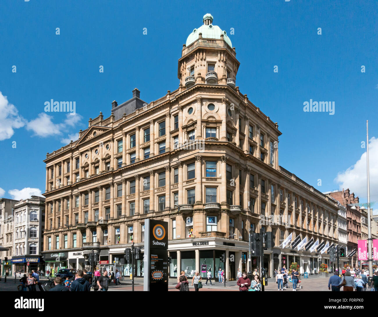 House of Fraser store on the corner of Argyle Street and Buchanan Street in Glasgow Scotland - Stock Image
