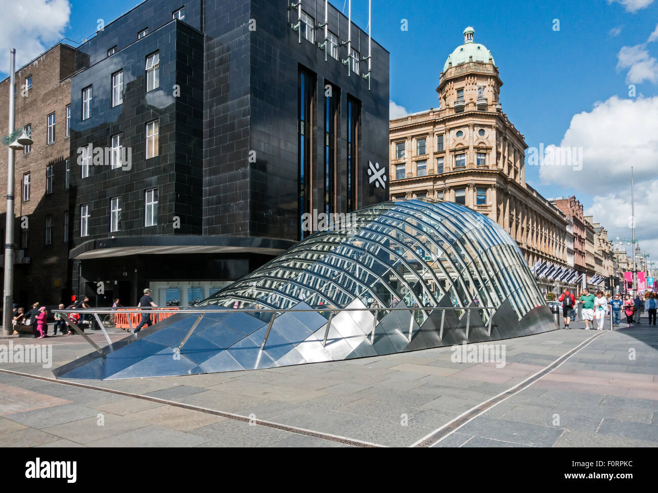 Rear view of New north end glass entrance to St. Enoch subway station at St. Enoch Square in Glasgow Scotland - Stock Image