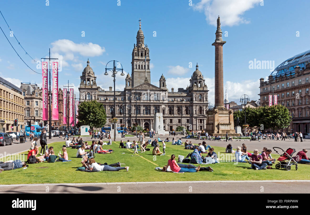 George Square in Glasgow Scotland - Stock Image