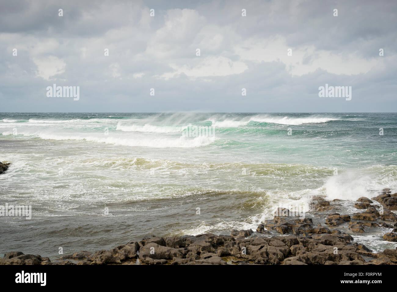Waves in the Atlantic at Easky Co. Sligo on the west coast of Ireland - Stock Image