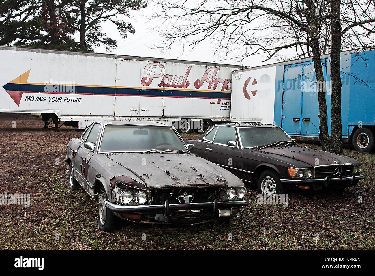 Abandoned cars--two examples of the prestigious Mercedes SL, Type ...