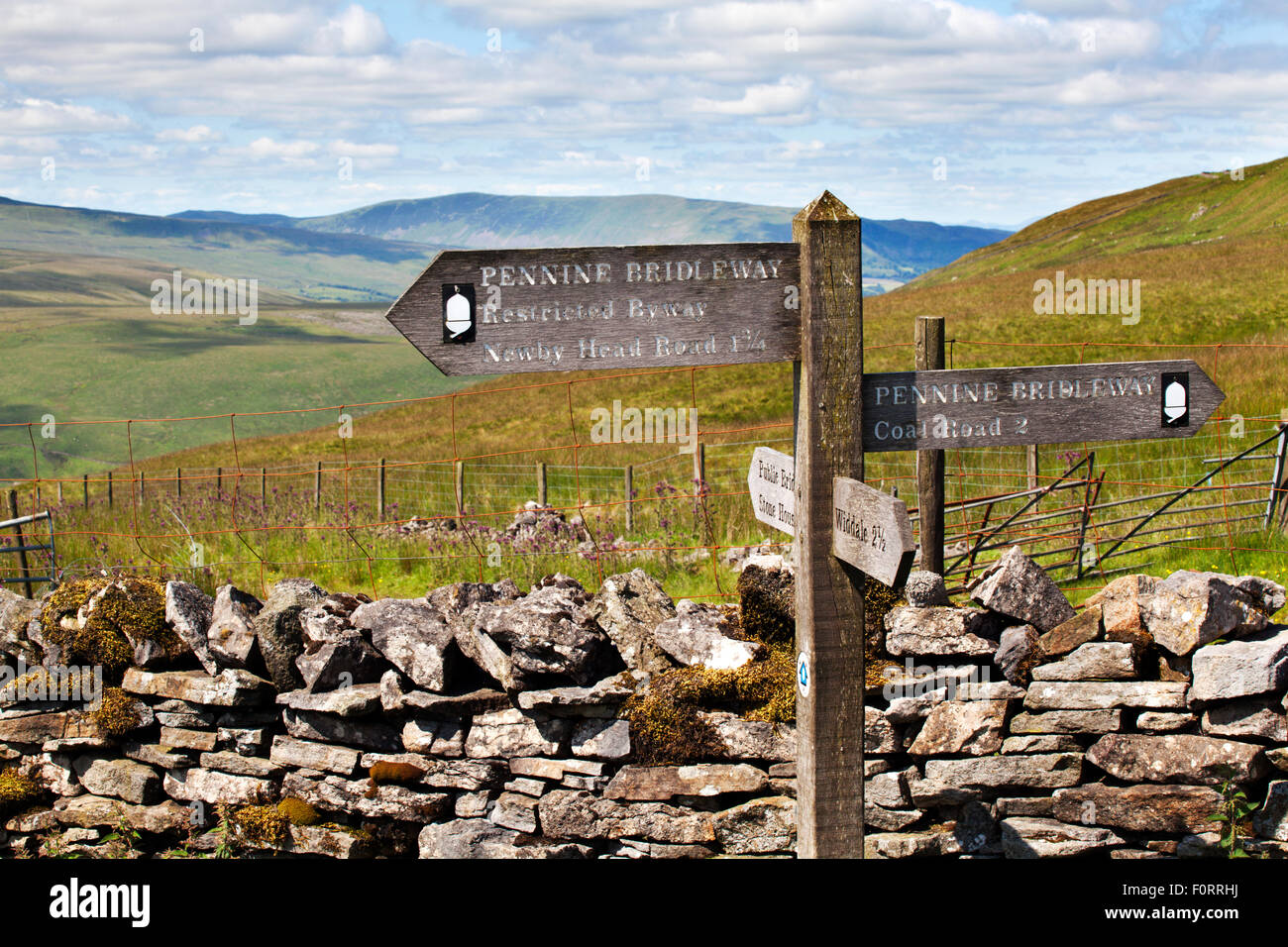 Signpost on the Pennine Bridleway at Arten Gill in Dentdale Yorkshire Dales Cumbria England - Stock Image