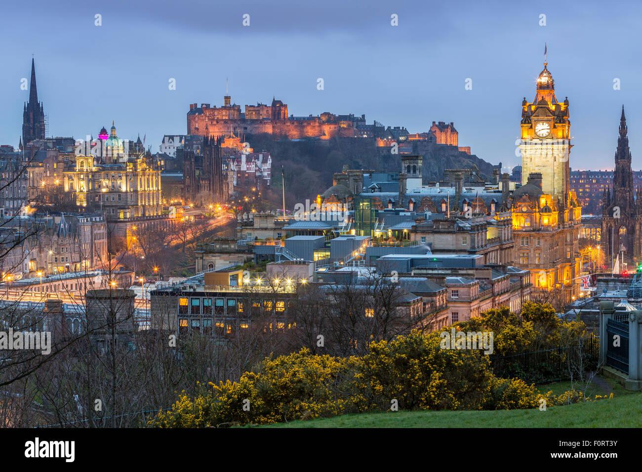 A view from Calton Hill over Edinburgh, City of Edinburgh, Scotland, United Kingdom, Europe. Stock Photo