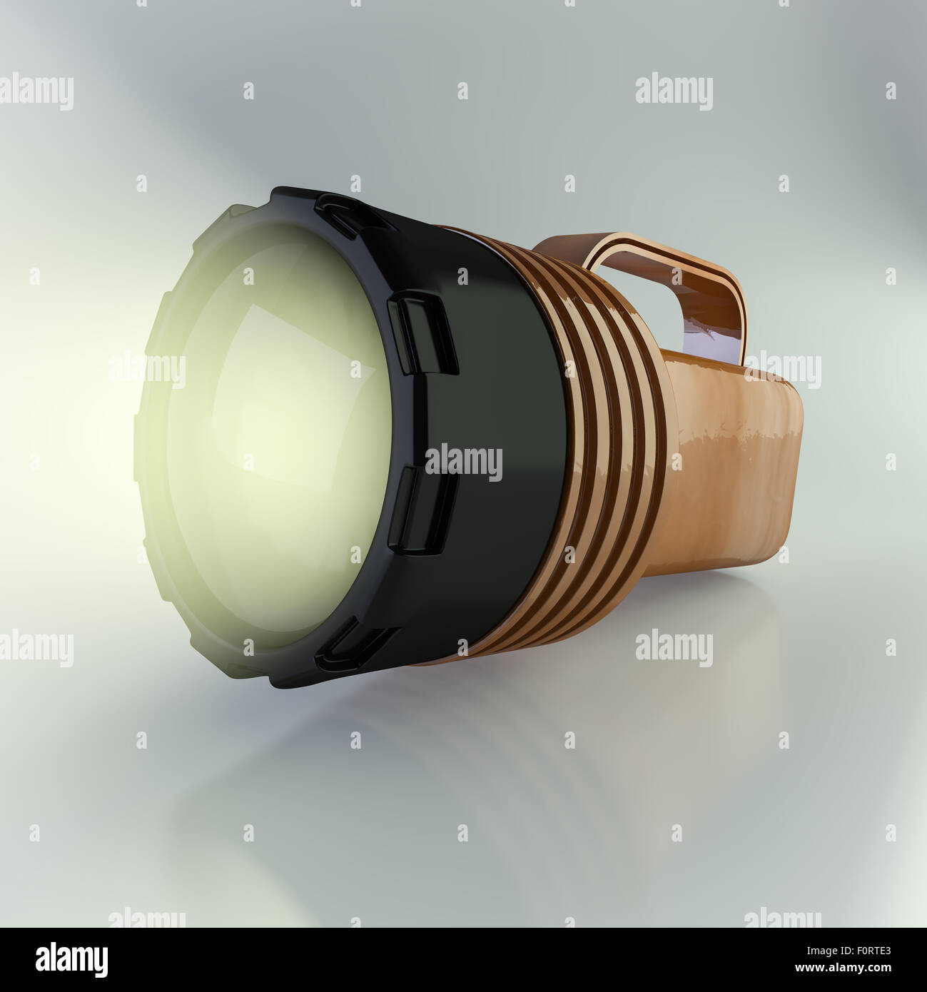 realistic 3d render of flashlight - Stock Image