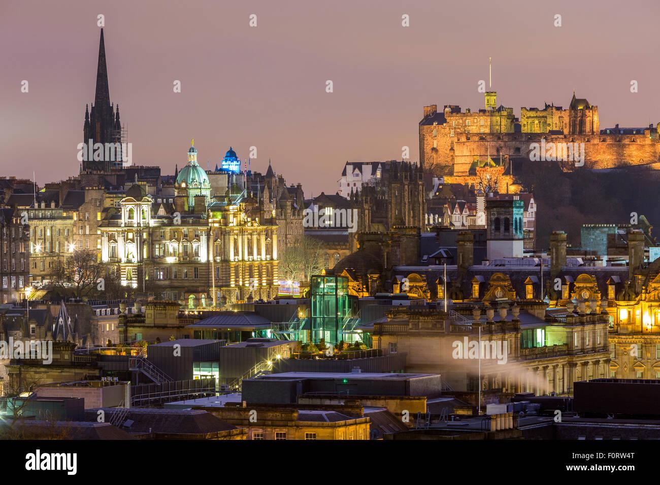A view from Calton Hill over Edinburgh, City of Edinburgh, Scotland, United Kingdom, Europe. - Stock Image