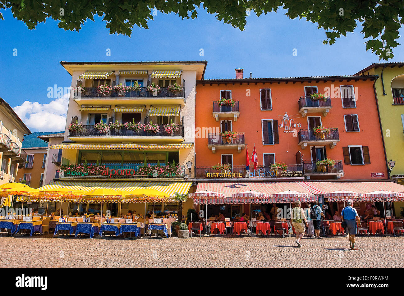 Switzerland, Maggiore Lake,Ascona, lakeside promenade - Stock Image