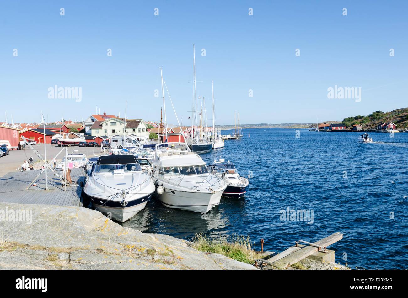 swedish westcoast boat and small house on Orust Stock Photo