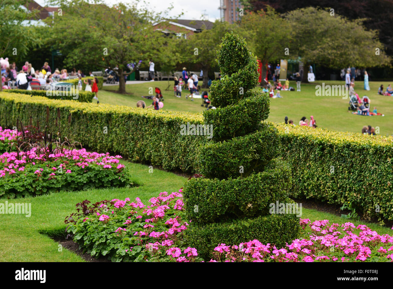 A spiral shrubbery located in Birmingham Botanical Gardens. - Stock Image
