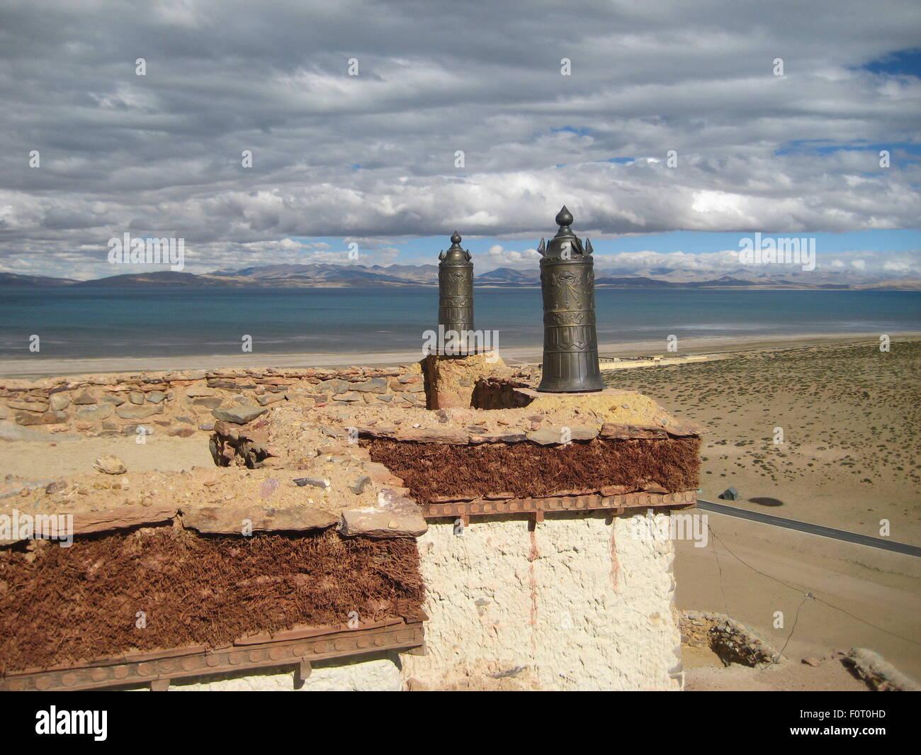 Tibetan house roof - Stock Image