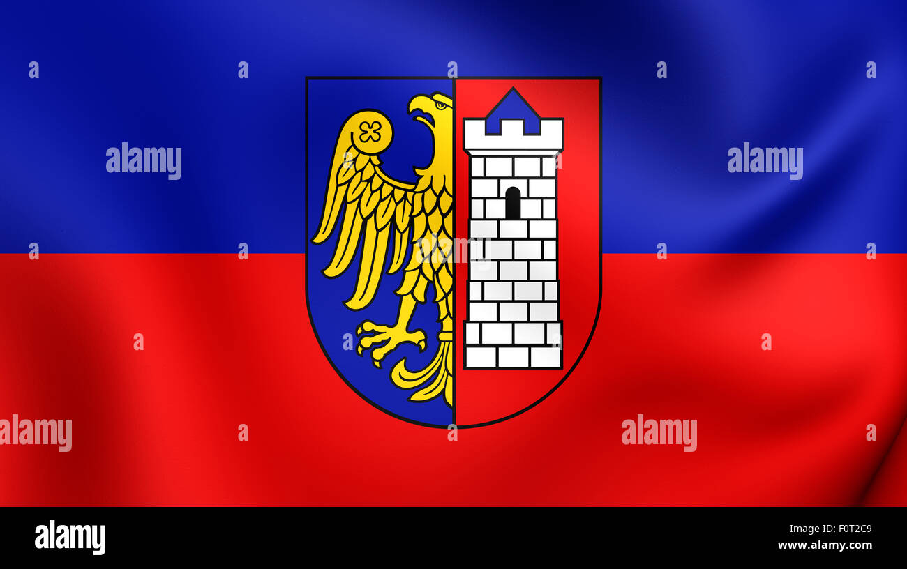 3D Flag of Gliwice City, Poland. Close Up. - Stock Image