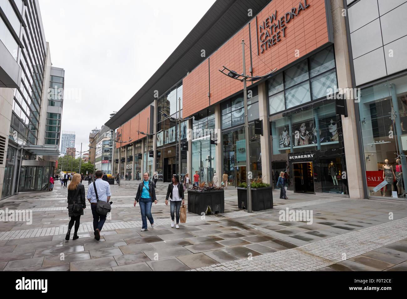 New Cathedral street upmarket shopping area Manchester England UK - Stock Image