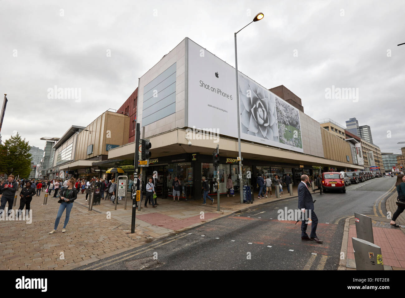 The arndale shopping centre and junction of high street and market streets Manchester England UK - Stock Image