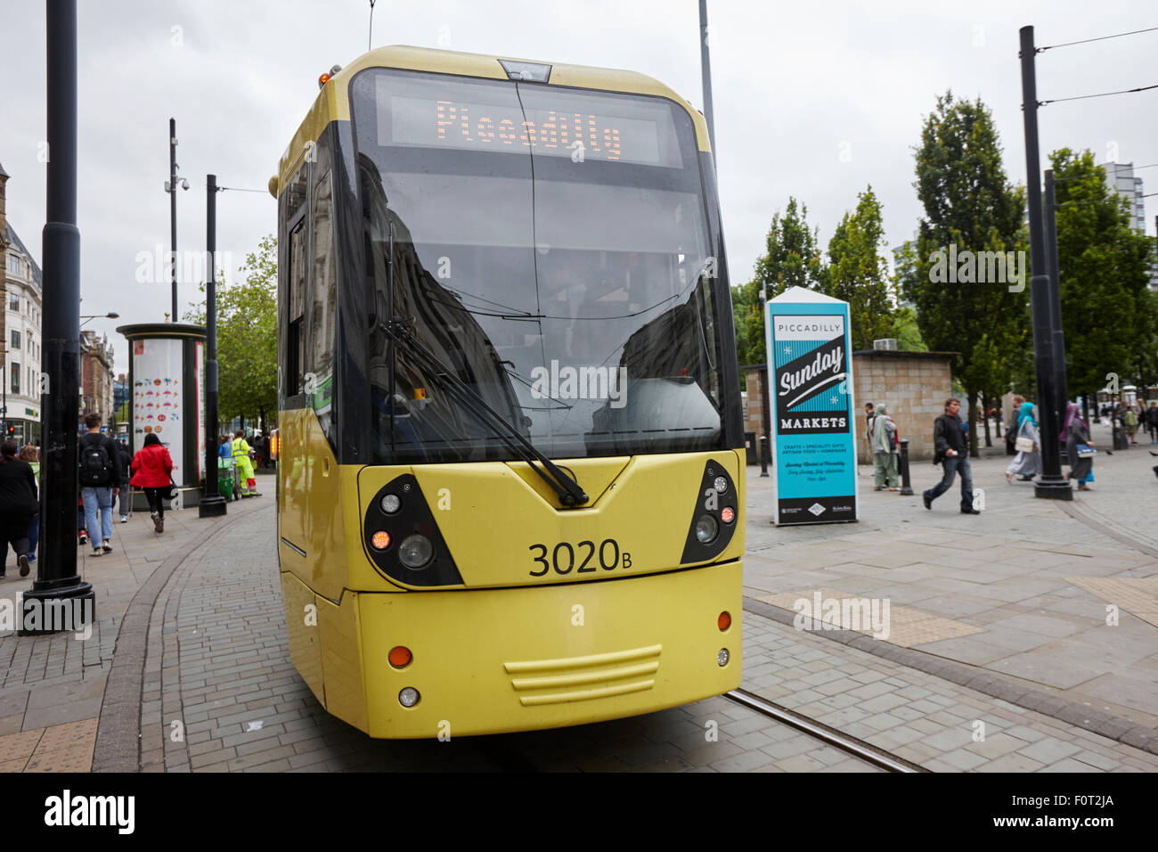 metrolink tram in manchester city centre Manchester England UK - Stock Image